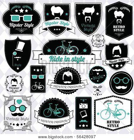 Collection of vintage hipster badges, labels and stamps, vector illustration