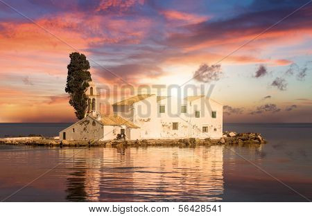 Sunset scene of Vlacherna monastery, Kanoni, Corfu, Greece poster