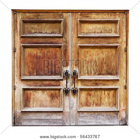 Antique Wooden Doors Isolated on a White Background