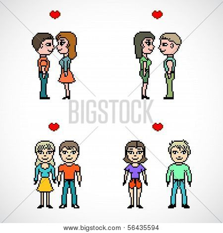 set of couples of people pixel art