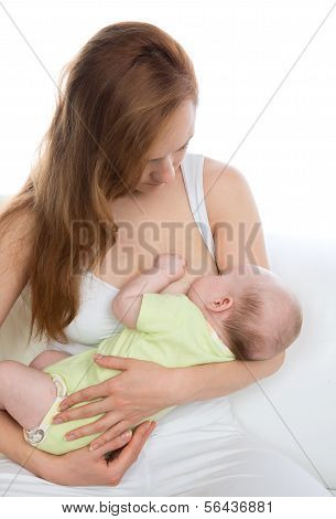 Young Mother Woman Breastfeeding Her Child Baby Infant Girl