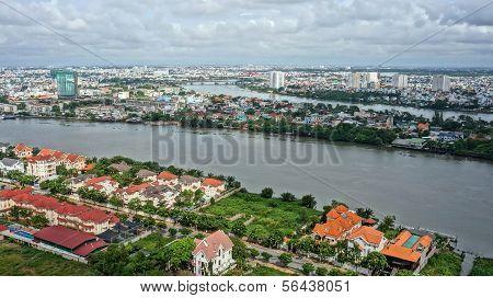 Cityscape of Ho Chi Minh city, Sai Gon River