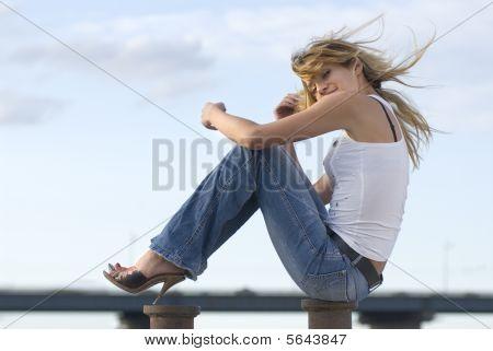 Happy Woman Near A River