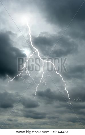 Lightening Bolt Flashes Through A Dramatic Sky
