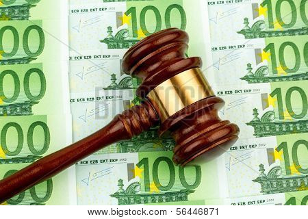 judge gavel and euro banknotes. symbol photo for r costs in court of law and auctions