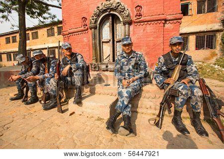 KATHMANDU, NEPAL - Oct 19: Unknown nepalese soldiers Armed Police Force, Dec 19, 2013 in Kathmandu, Nepal. Minimum age for enlistment is 18 years, tasked with counterinsurgency operations in Nepal.