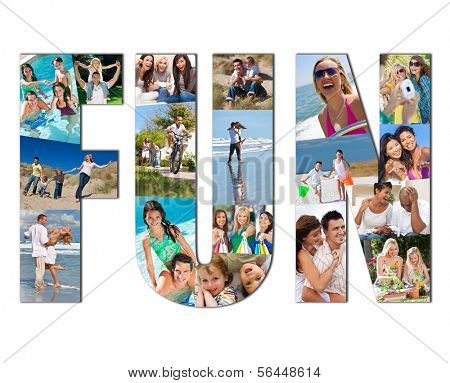 Active people men, women children and couples playing laughing and having fun in summer. Swimming, cycling, jumping, playing games, shopping and being active, the montage spells the word FUN