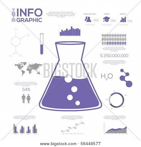 Chemistry Infographic collection, charts, symbols, graphic vector elements.