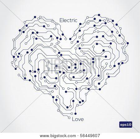 Electronic circut board in shape of heart.