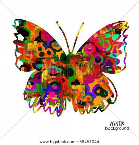 art sketched colorful butterfly symbols in vector