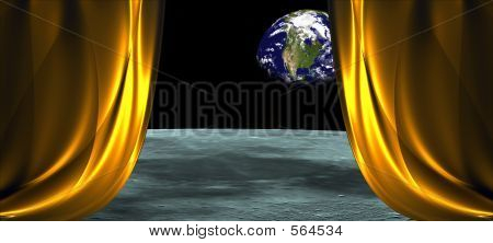wide open curtain pattern with space background poster