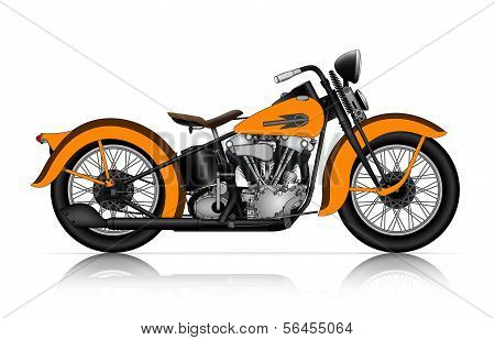 Highly Detailed Illustration Of Classic Motorcycle