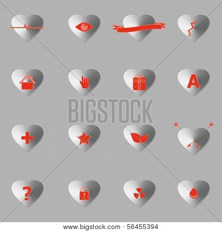 General Symbol In Heart Shape Icons With Shadow