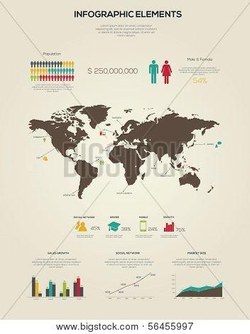 Retro Infographics Elements.