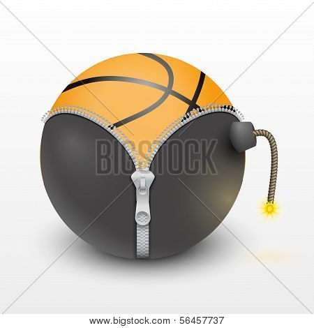 basketball ball inside a burning bomb vector