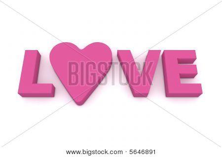Amor com o coração em rosa/roxo