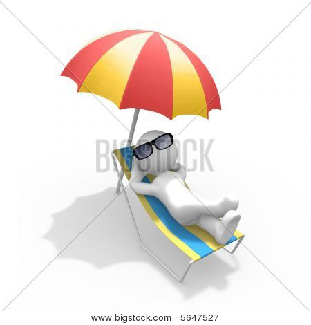 A guy chilling in the sun under an umbrella. poster