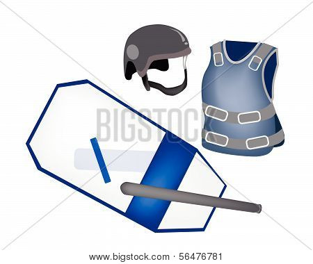 Police Equipment And Police Uniform On White Background