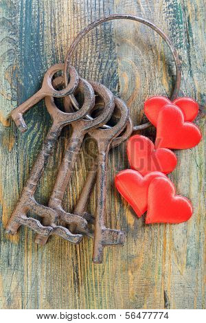 Bunch Of Old Keys And Red Hearts.