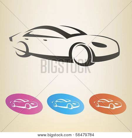 Modern Car Outlined Vector Symbol