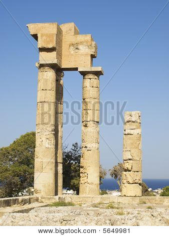 Remains of ancient temple of Apollonas at Rhodes Greece. poster