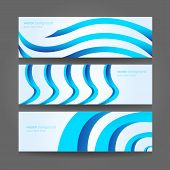 Vector eps10. Illustration. Banners or website headers with abstract wave forms in blue color poster