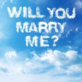 Cloud to cloud with letters written marriage proposal. poster