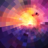 Abstract colorful shining circle tunnel lined background poster