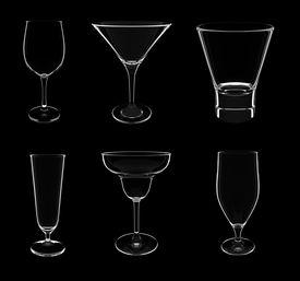 Various Glasses On Black