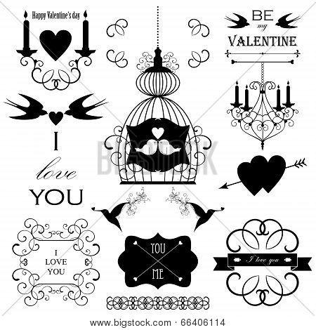 Vector wedding design elements