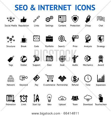 Set of silhouetted SEO and internet icons