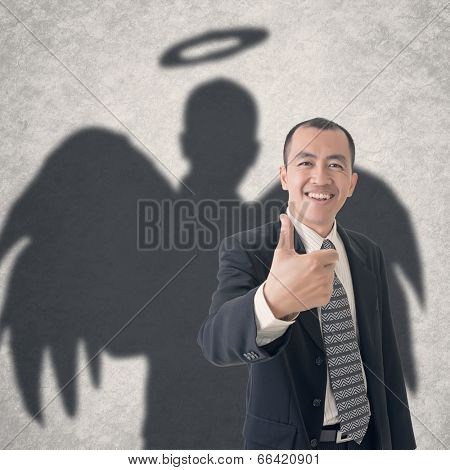 Concept of business angel . Photo compilation with hand drawn background.