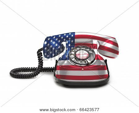 Office: Old And Vintage Telephone With The Usa Flag