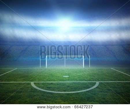 Digitally generated football pitch with goalpost in stadium