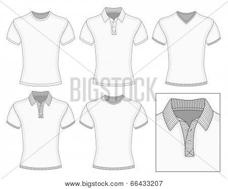 Men's short sleeve clothes templates (front view). Vector illustration. No mesh. Redact color very easy. Ribbed collar, cuffs and waistband.