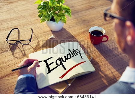Man with Note Pad and Equality Concept