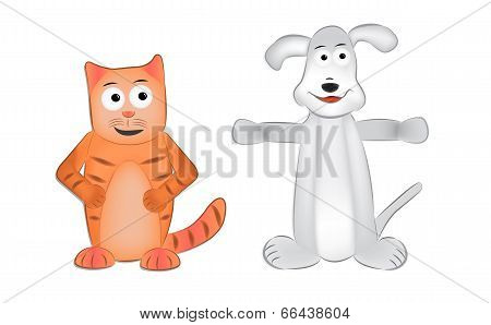 Dog And Cat Vector Cartoon