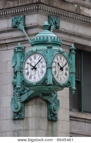 Turquoise clock on corner