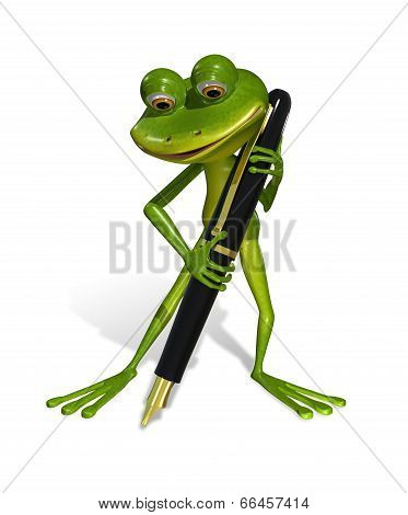 illustration curious frog with a fountain pen poster
