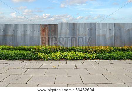 Shrubs With Zinc Fence On Blue Sky Background