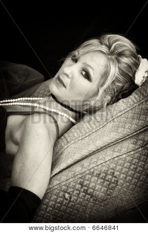 Sepia Woman Laying Down