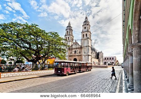 square and Cathedral in Campeche, Mexico
