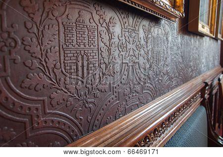 Embossed historic wallpaper