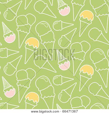 Seamless Summer Ice Cream Pattern