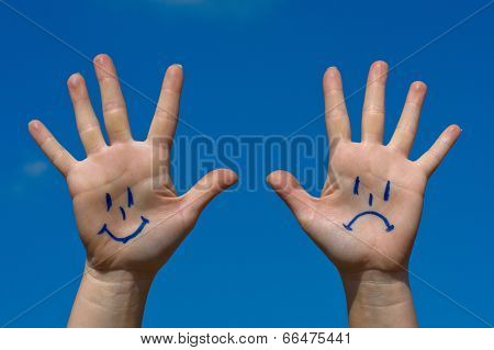 Hands With Smiles And Sadness Pattern