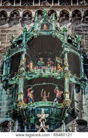 Animated figurines of Rathaus-Glockenspiel -  tourist attraction on New Town hall of Munich, Germany