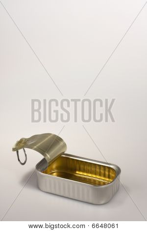 Open Sardine Can On White Background