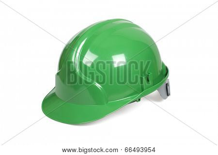 Green hard hat isolated on white with clipping path.