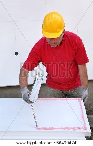 Construction Site, Styrofoam Insulation Glue