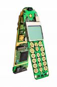 Digital mobile phone printed boards with lcd display. poster